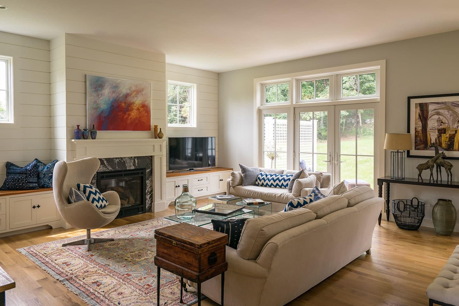 Modern Farmhouse Newbury MA Living Room