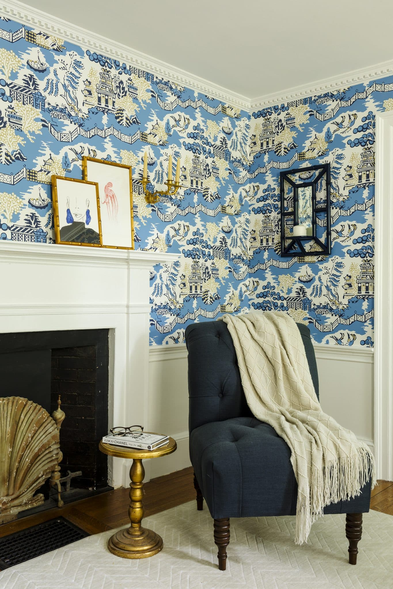 Asian Garden Colonial Hamilton MA Fireplace Vignette