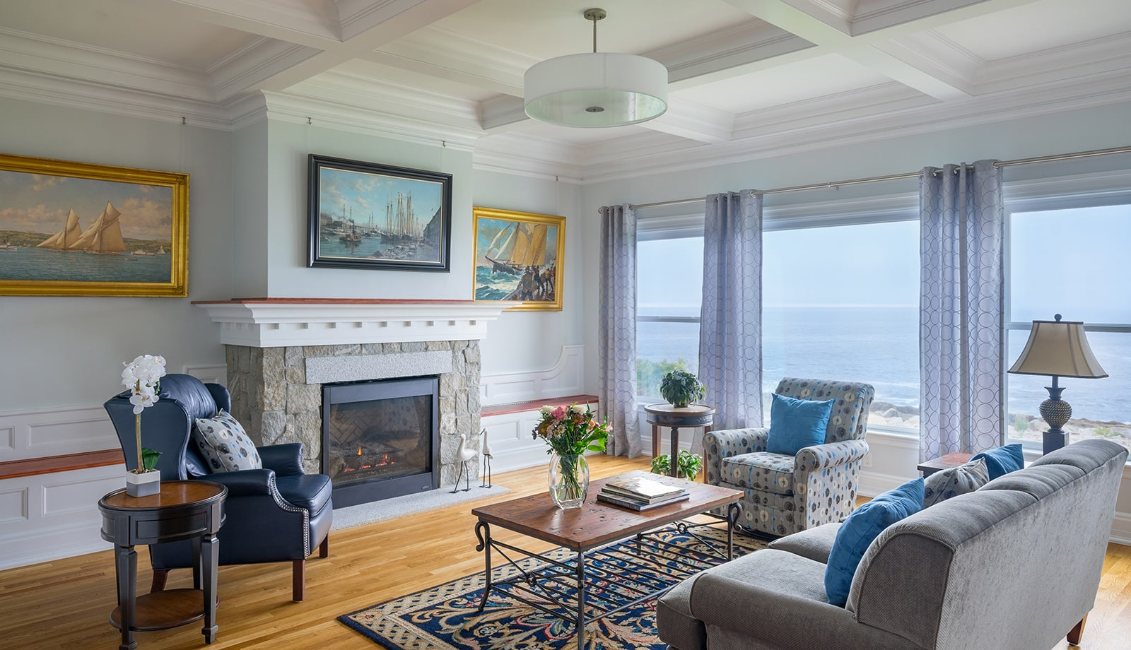 Oceanfront Shingle Style Gloucester MA Living Room